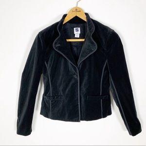 3e18e051eb3 Gap Black Velvet Blazer Style Jacket Mandarin